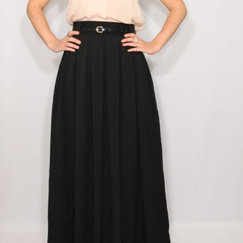 8895867f08c Maxi skirt Long black skirt Women skirt Chiffon skirt High waisted maxi  skirt with poc