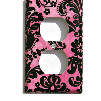 Pink Black Distressed Damask Decorative Outlet Cover Chic Paris Bedroom Room Decor Paris Wall Decorations