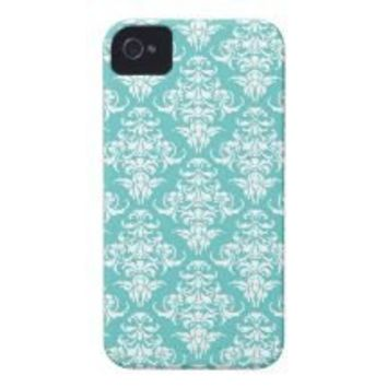 Blue damask vintage wallpaper pattern 4S case Id Iphone 4 Cover