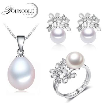Real freshwater pearl jewelry sets women,flower natural pearl sets 925 silver jewelry girl birthday earring ring gift white