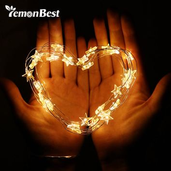 LemonBest 2M 3M Fairy Waterproof Outdoor Decoration Sting lamp Copper Wire Star String Light