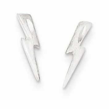 Sterling Silver Lightning Bolt Post Earrings