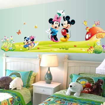 5086-D Hot sale Mickey Mouse Minnie Mouse Room Decoration Cartoon Cute glass Wall Stickers Free Shipping
