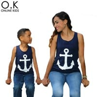 Mom And Daughter T Shirt Mother Son Outfits Anchor Bow T-shirt For Family Matching Clothing 2017 New Sleeveless Mom Baby Clothes