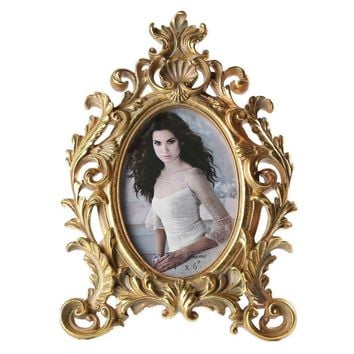 Giftgarden 4x6 Photo Frame Vintage Oval Picture Frame Gold Wedding Photo Frame Wedding Gift Party Decoration