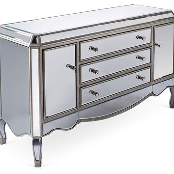 Leila Mirrored Buffet, Silver, Buffets & Sideboards