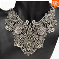 Vintage Silver Plated Flower Statement Choker Necklace Women Jewelry FREE SHIPPING