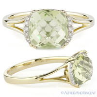 2.57ct Cushion Cut Green Amethyst Diamond Engagement Ring 14k Yellow Gold