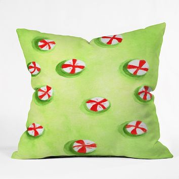 Rosie Brown Christmas Candy Throw Pillow