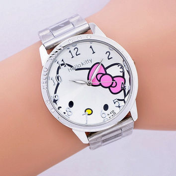 Fashion Women stainless steel Watch Girls Hello Kitty quartz Watch for Cartoon Watches 1pcs