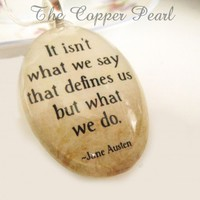 Jane Austen Quote Inspirational Necklace -- Large Domed Oval Glass Pendant | LittleKeepsakesStudio - Jewelry on ArtFire