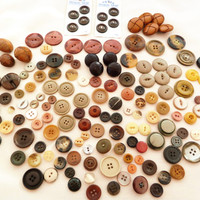 Vintage Button Lot for Sewing Crafts Autumn Shades Browns and Beiges