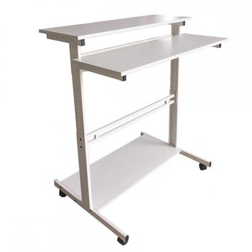 New White Home Office Adjustable Standing Desk Workstation w/Casters Tray L100
