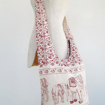 Hill Tribe Shoulder Bag Boho Hippie CrossBody Messenger Elephant Travel Bag # 07