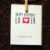 Naughty Funny Birthday Card For Boyfriend I'll Give You The V Later Him Lover Husband