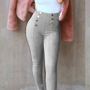 Grey Buttons High Waisted Fashion Slim Long Pants