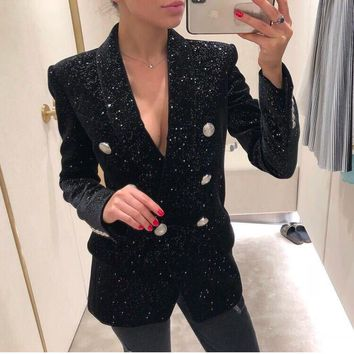 New Arrival Women Blazer Double-Breasted Button OL Work Office Suits Outwear