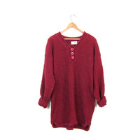 Vintage 90s cranberry red sweater thick knit cotton ramie sweater oversized long basic henley pullover sweater women medium large