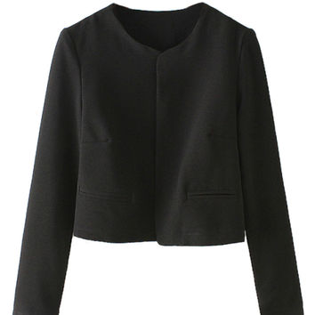 Black Long Sleeve Crop Blazer