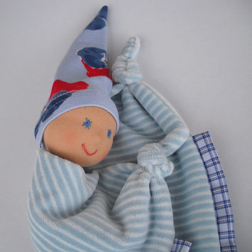 Waldorf Doll, Waldorf Baby Doll,  Lovey Doll, Bunting Blanket Doll for baby boy, Security Blanket, Baby shower gift, Dou dou, Handmade