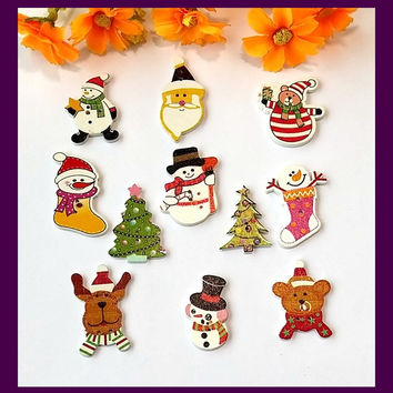 Scrapbook Decorative Buttons Mix 11 style 40pcs wood Christmas buttons for craft accessories