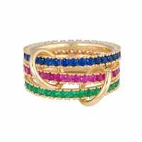 Gold filled red blue green cz eternity stacking band finger ring for women european fashion gorgeous female stack ring sets