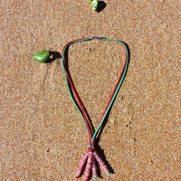 Red and Green Suede & CANDY CANE Beads Christmas Dangle Necklace