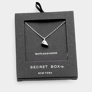 Secret Box _ White Gold Dipped Cheese Pendant Necklace