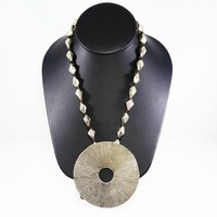Sterling Silver, Smoky Quartz Necklace with Folded Beads Chain Huge Circle Pendant Signed Karen Hill Tribes Vintage 1980s Modernist Necklace