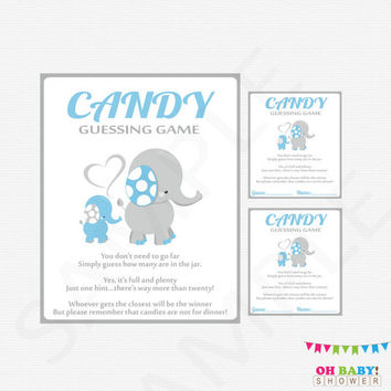 Blue Elephant Baby Shower, Guess How Many, Candy Guessing Game, Blue and Gray Baby Shower Games Boy, Printable Shower Sign, Download, ELLBG