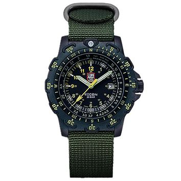 Luminox Mens Recon Point Man - Black Dial w/ Green & Yellow - NATO Strap