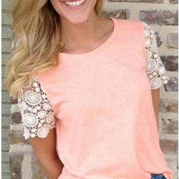 Making Me Blush Lace Sleeve Top