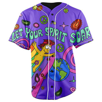 Homer Jay Simpson Let Your Spirit Soar Purple Button Up Baseball Jersey