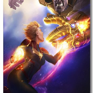 Custom Canvas Wall Mural Thanos Captain Marvel Comics Poster Avengers Infinity War Wall Sticker Kids Room Anime Wallpaper #0332#