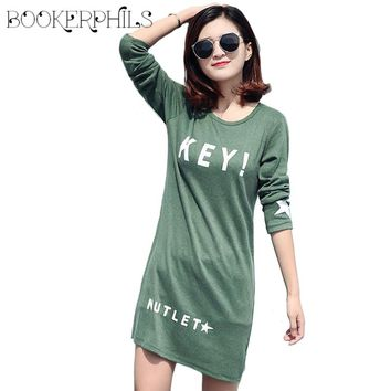 2017 New KEY Letter Printing Female T-shirt Top Long Sleeve women's T-shirts O-Neck Casual Long shirts Plus Size M-5XL