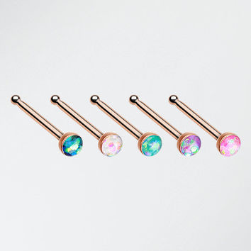 5 Pcs of Rose Gold Opal Sparkle Nose Stud Ring Pack