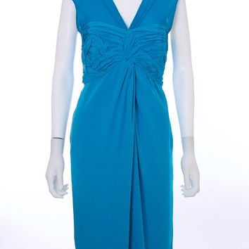 3.1 PHILLIP LIM Teal Silk Ruched Sleeveless Dress Size 10