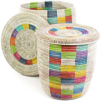 Pair of Lidded African Baskets - Rainbow Checker