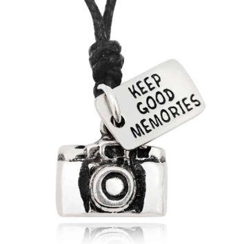 Lovely Camera Silver Pewter Charm Necklace Pendant Jewelry With Cotton Cord