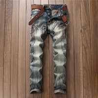 Stylish Ripped Holes Jeans [10766087043]