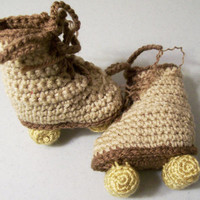 Baby Roller Skates- Blue baby  Boy Tan booties-Baby Shower Gift