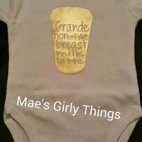 Starbucks infant bodysuit, funny infant bodysuit, gold baby shirt, coffee shirt