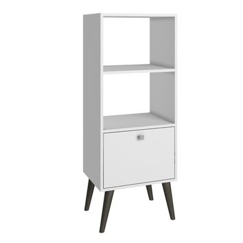 Accentuations by Manhattan Comfort Sophisticated Sami Double Bookcase with 2 Open Shelves and 1- Drawer in White