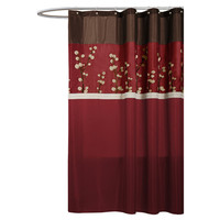 Lush Decor Cocoa Flower Polyester Shower Curtain