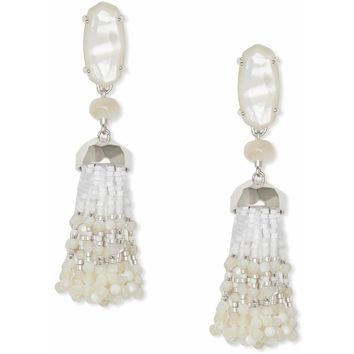 Kendra Scott Dove Silver Statement Earrings In Ivory Pearl