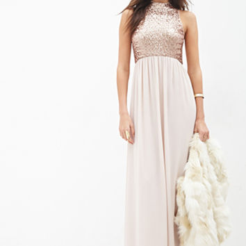 LOVE 21 Sequined Chiffon Maxi Dress Blush