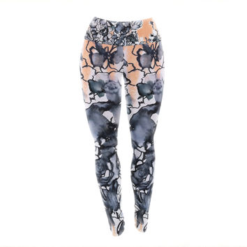 "Sonal Nathwani ""Inky Bouquet"" Yoga Leggings"