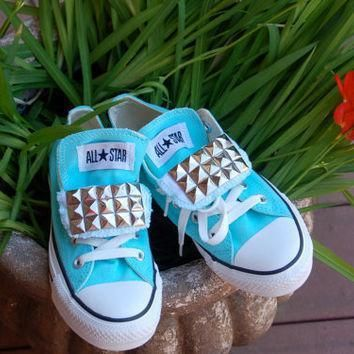 tiffany blue studded converse low top chucks