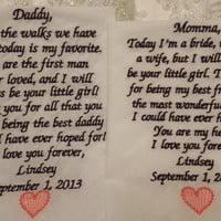MLacy Mom and Striped Dad Personalized Wedding Handkerchief. Gift for the Mother and Father of the Bride FREE Sparkling Gift Envelope.