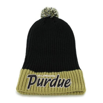 47 Brand Purdue Boilermakers Black Step Back Pom Top Cuff Knit Hat - http://www.shareasale.com/m-pr.cfm?merchantID=7124&userID=1042934&productID=525109138 / Purdue Boilermakers